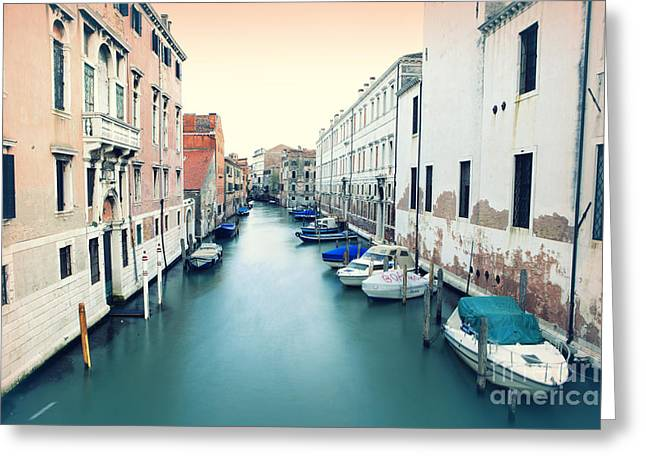 Secluded Canal In Venice Greeting Card by Ernst Cerjak