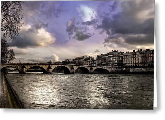 Sena River In Paris After Storm Greeting Card