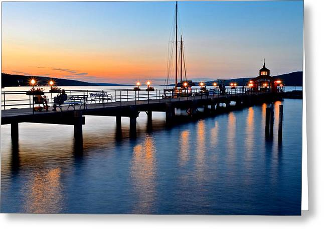 Seneca Lake Sunset Greeting Card by Frozen in Time Fine Art Photography