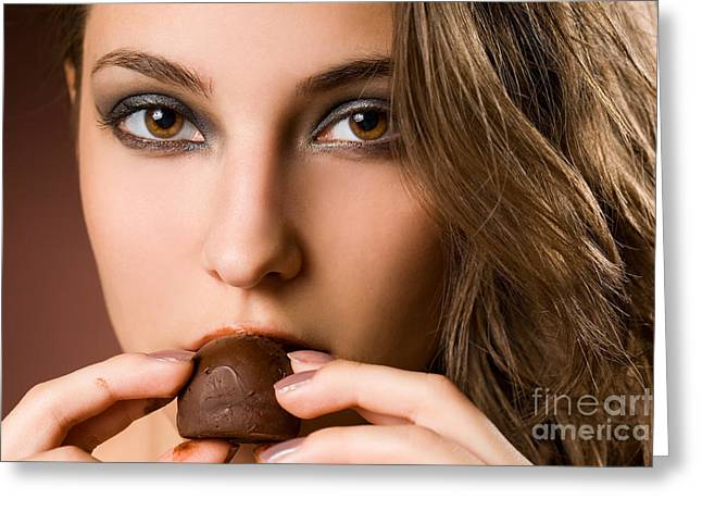 Sensual food greeting cards page 3 of 4 fine art america sensual brunette chocolate girl greeting card m4hsunfo