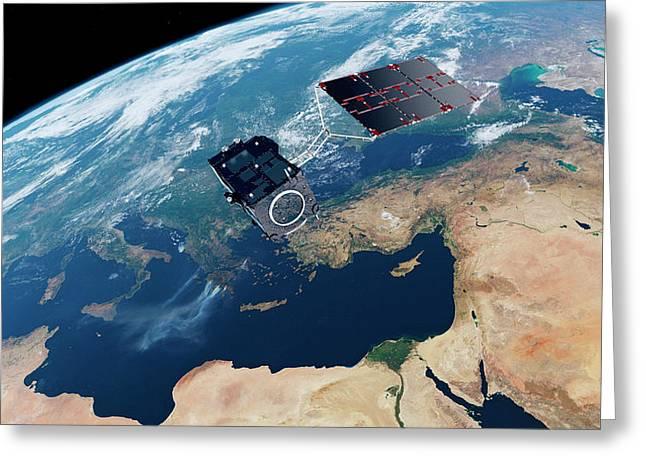 Sentinel-3 Satellite In Orbit Greeting Card