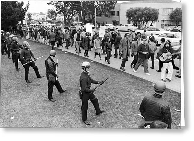 Sf State Riots Scene Greeting Card