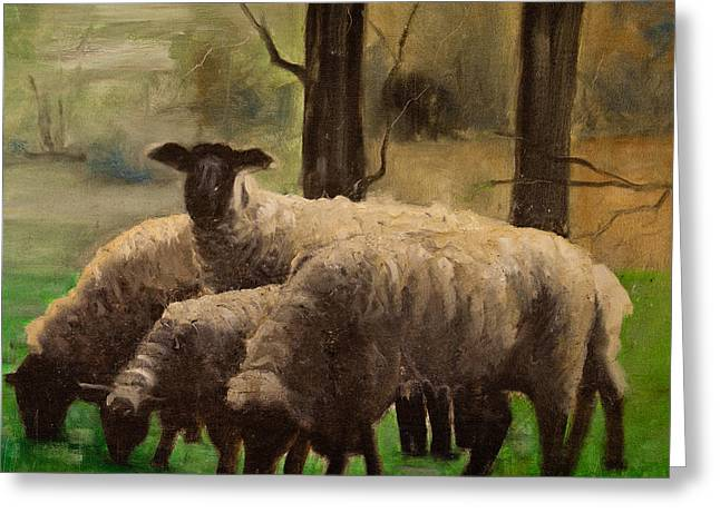Greeting Card featuring the painting Sheep Family by John Reynolds