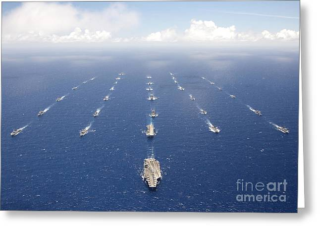 Ships And Submarines Participating Greeting Card by Stocktrek Images
