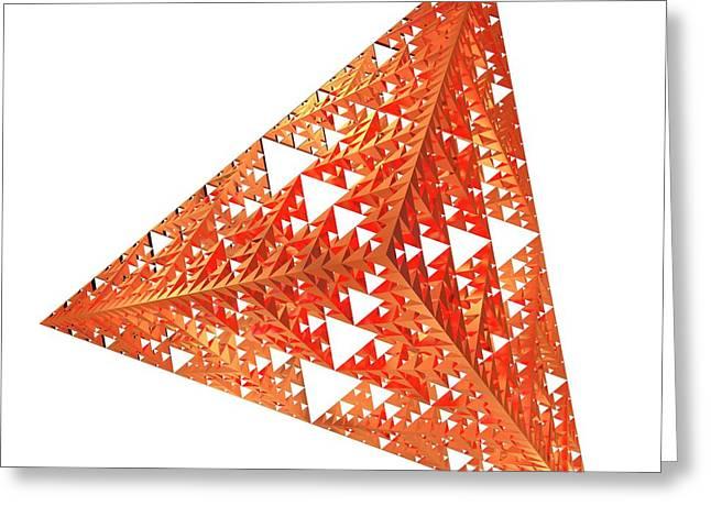 Sierpinski Fractal Pyramid Greeting Card by Alfred Pasieka
