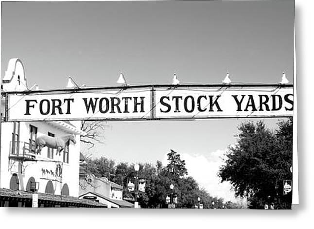 Signboard Over A Street, Fort Worth Greeting Card by Panoramic Images