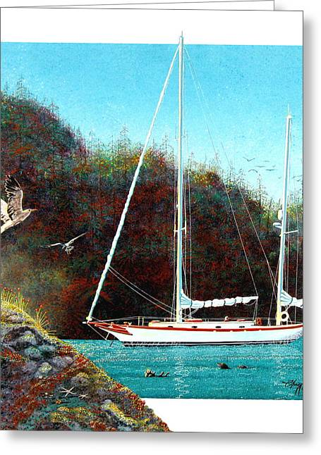 Greeting Card featuring the painting Silent Anchorage by David  Chapple