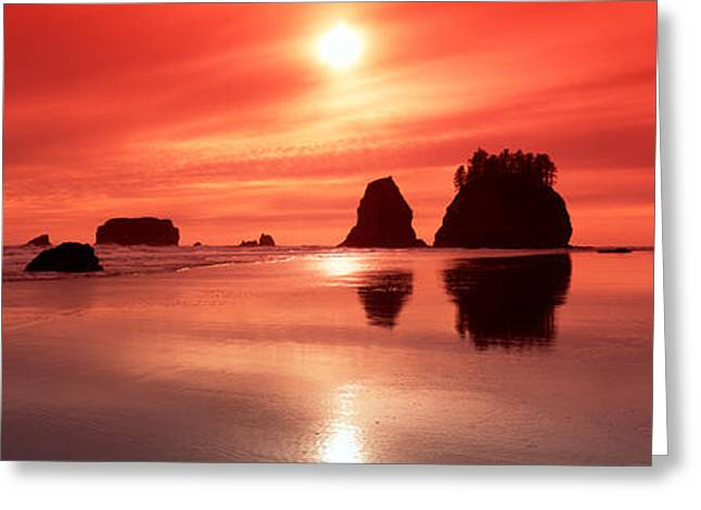 Silhouette Of Sea Stacks At Sunset Greeting Card by Panoramic Images