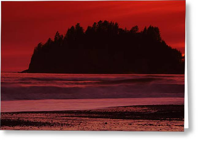 Silhouette Of Seastacks At Sunset Greeting Card by Panoramic Images