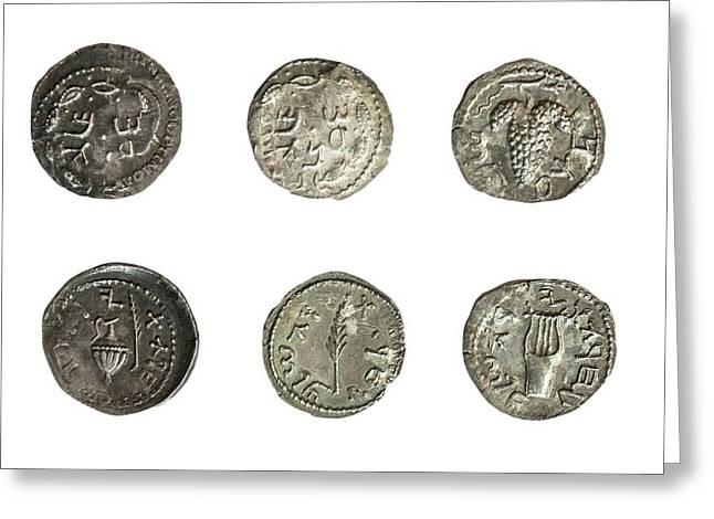 Simon Bar-kokhba Coins Greeting Card by Photostock-israel