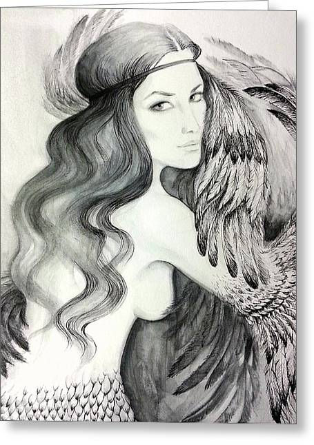 Siren Greeting Card by Roksolana Tchotchieva