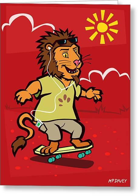 skateboarding Lion  Greeting Card