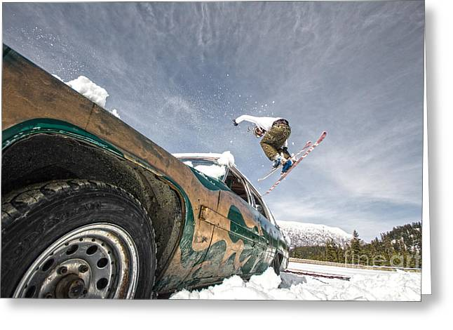 Ski Freestyle - Skier Jumping Over Vintage Car Greeting Card by Alejandro Moreno de Carlos