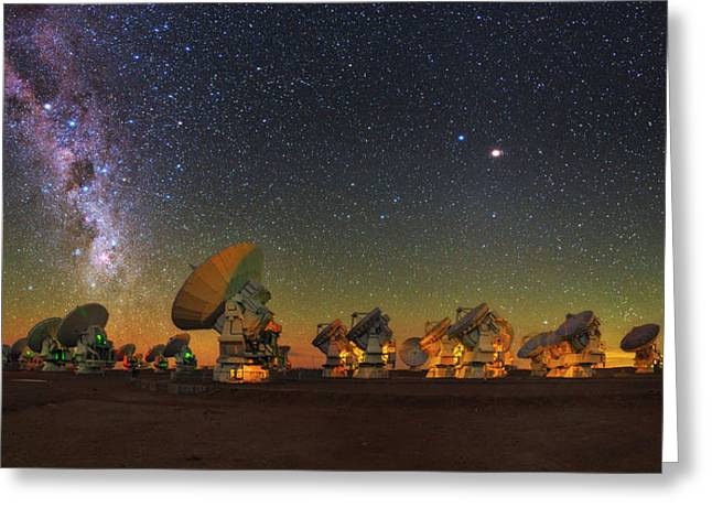 Sky Above Alma Radio Telescope Greeting Card