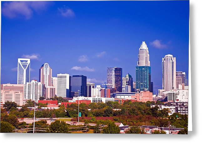 Skyline Of Uptown Charlotte North Carolina At Night Greeting Card by Alex Grichenko