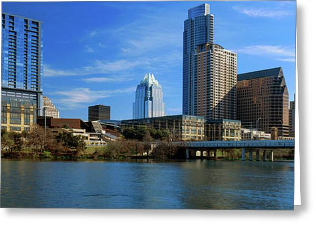 Skyscrapers At The Waterfront, Lady Greeting Card by Panoramic Images