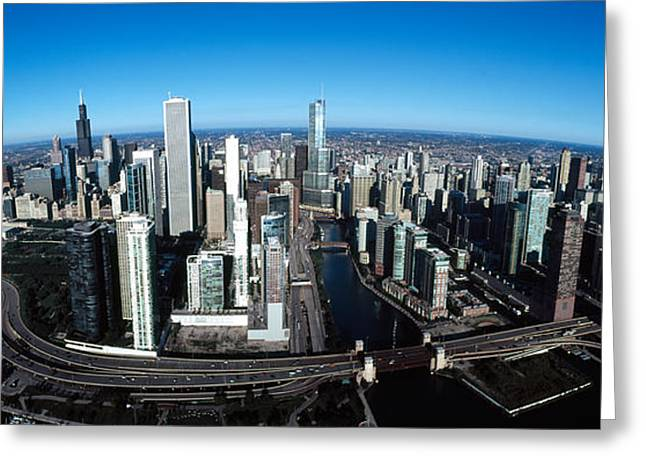 Skyscrapers In A City, Willis Tower Greeting Card by Panoramic Images