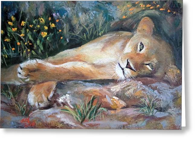 Sleep Lion Greeting Card