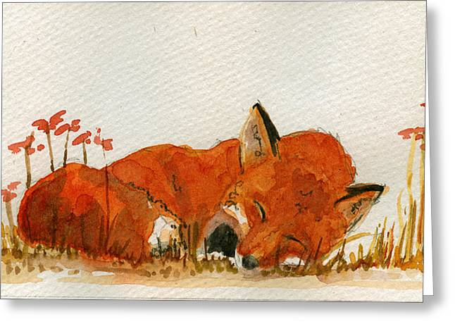 Sleeping Red Fox Greeting Card by Juan  Bosco