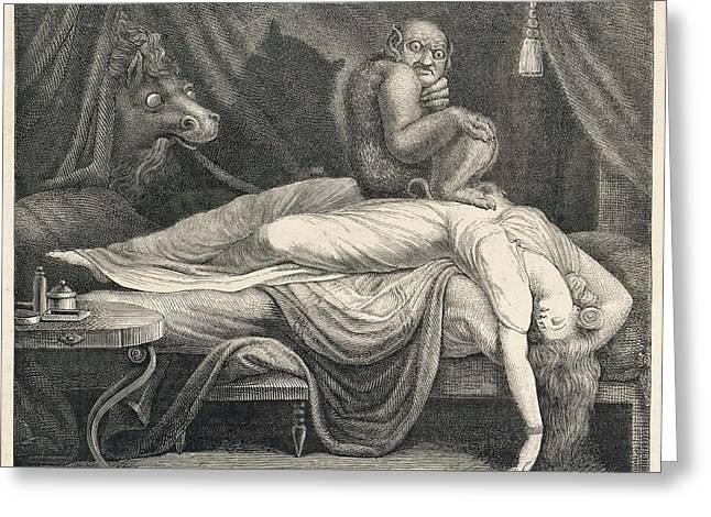 Sleeping Woman Dreaming Of Nightmares Greeting Card
