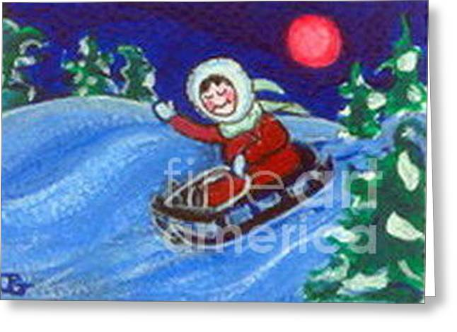 Greeting Card featuring the painting Sleighriding At Night by Joyce Gebauer