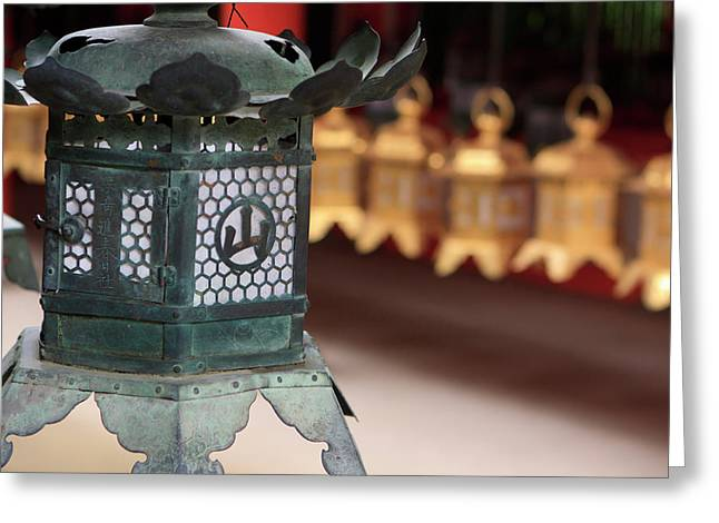 Smaller Metal And Gold Lanterns Greeting Card by Paul Dymond