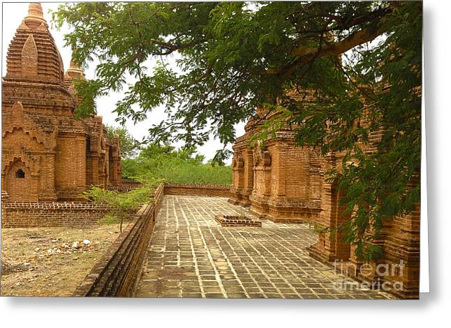 Greeting Card featuring the photograph Smaller Temples Next To Dhammayazika Pagoda Built In 1196 By King Narapatisithu Bagan Burma by Ralph A  Ledergerber-Photography