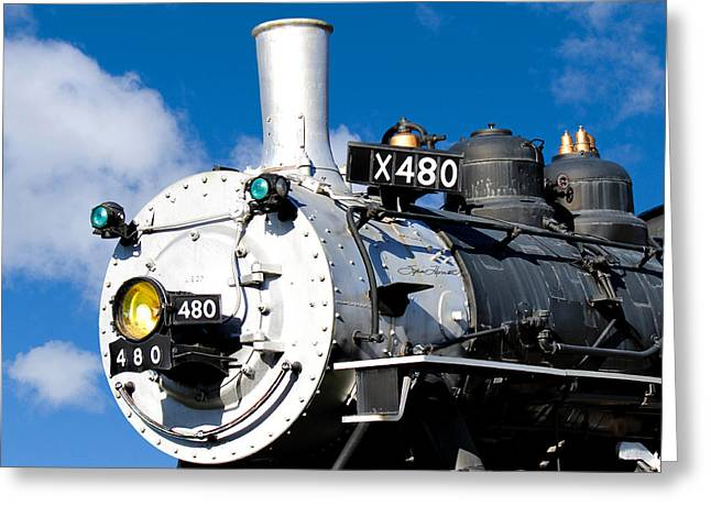 Smiling Locomotive Greeting Card by Sylvia Thornton
