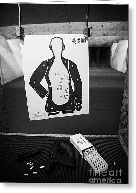 Smith And Wesson 9mm Handgun With Ammunition At A Gun Range In Florida Usa Greeting Card by Joe Fox