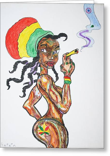 Smoking Rasta Girl Greeting Card