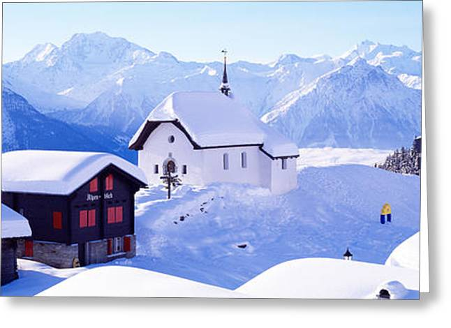 Snow Covered Chapel And Chalets Swiss Greeting Card