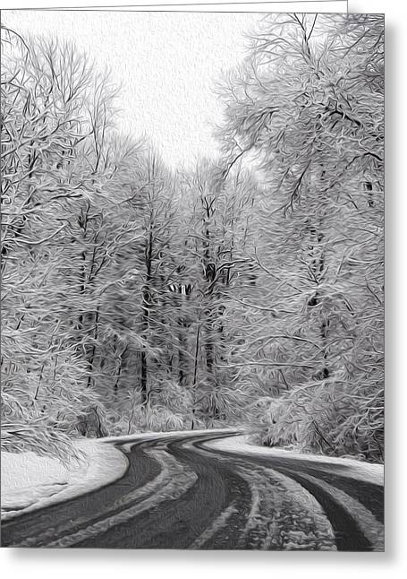 Snow On The Trees Greeting Card by Tracy Winter
