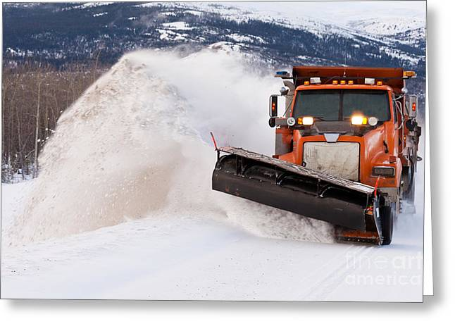 Snow Plough Clearing Road In Winter Storm Blizzard Greeting Card by Stephan Pietzko