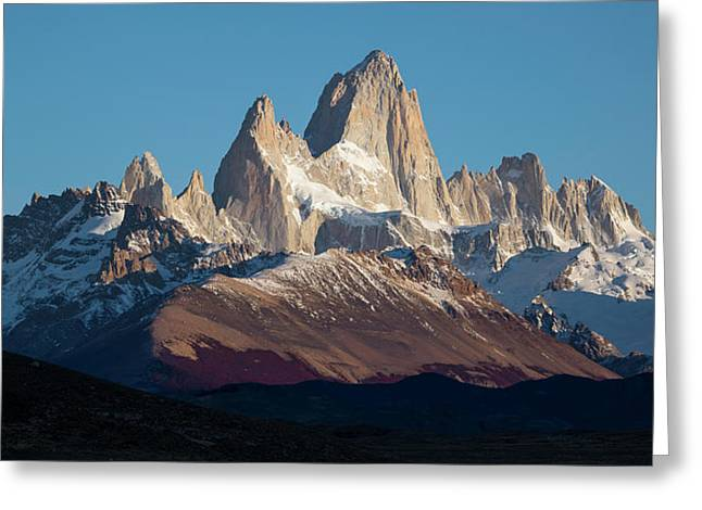 Snowcapped Mountain Range, Mt Fitzroy Greeting Card by Panoramic Images