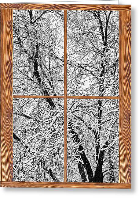 Snowy Tree Branches Barn Wood Picture Window Frame View Greeting Card by James BO  Insogna
