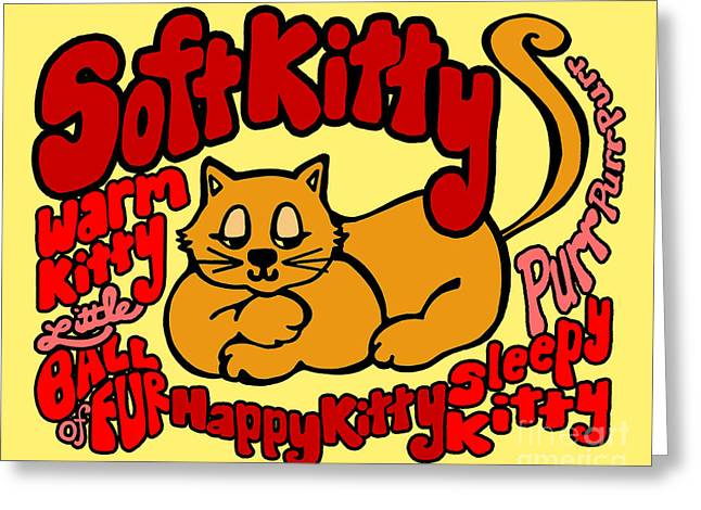 Soft Kitty Greeting Card by Ginny Gaura