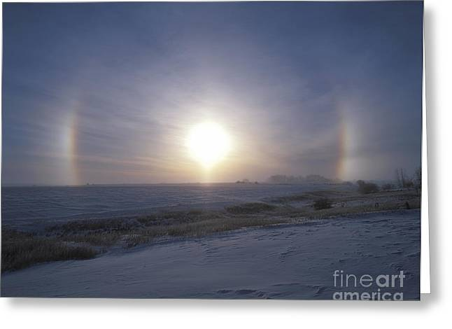 Solar Halo And Sundogs In Southern Greeting Card by Alan Dyer