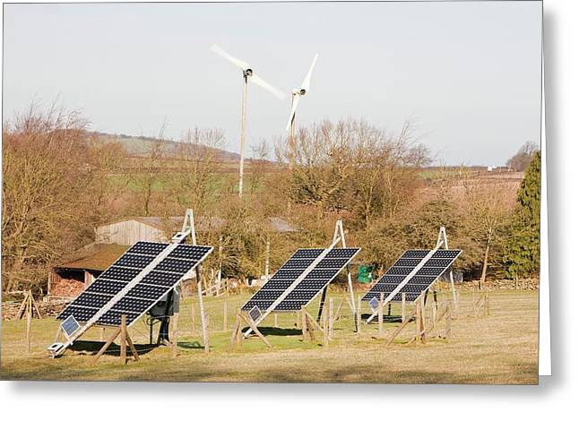 Solar Panels And Wind Turbines Greeting Card by Ashley Cooper