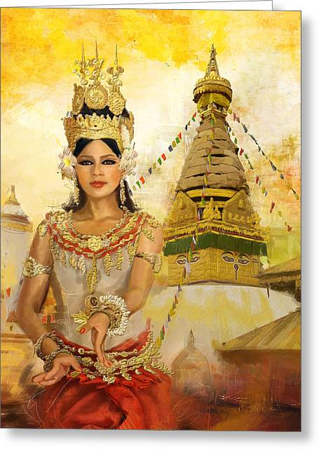 South East Asian Art Greeting Card by Corporate Art Task Force