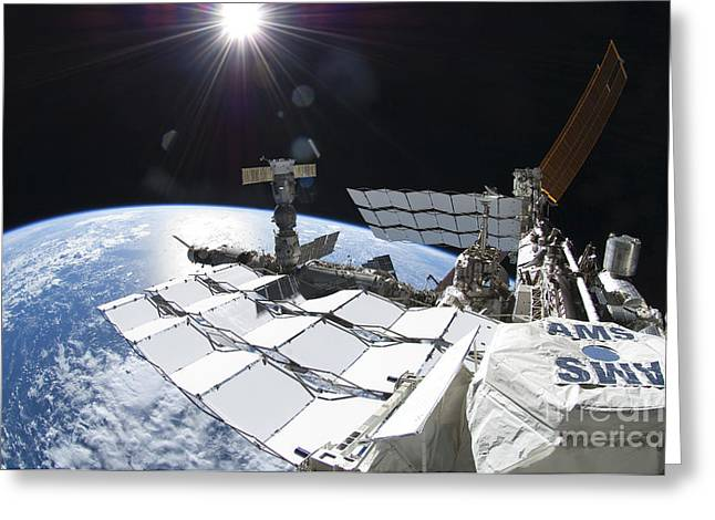 Space Shuttle Atlantis Docked Greeting Card