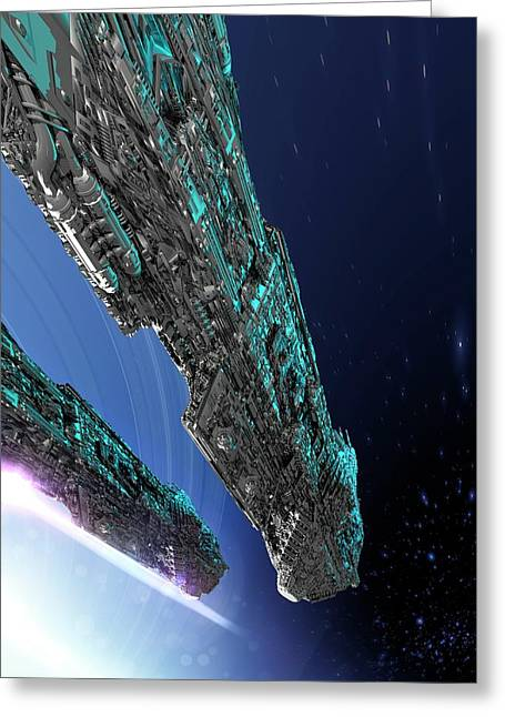 Spaceship Greeting Card by Victor Habbick Visions