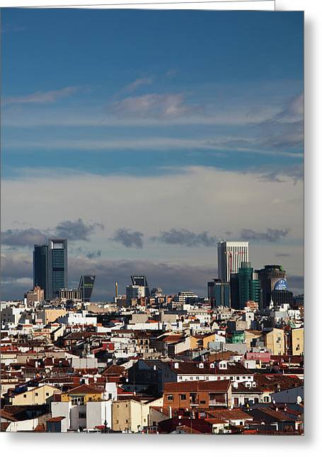 Spain, Madrid, Centro Area, Elevated Greeting Card by Walter Bibikow