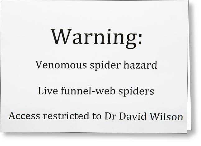 Spider Venom Research Greeting Card by Louise Murray