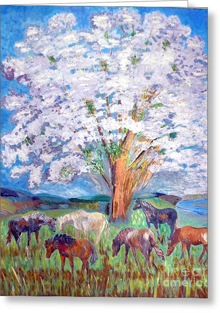 Spring And Horses 1 Greeting Card