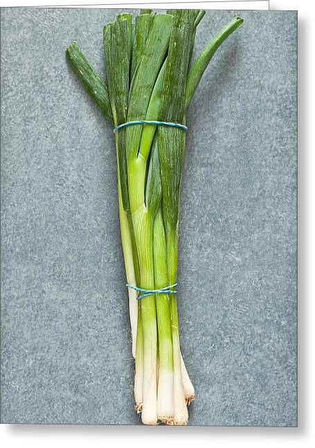 Spring Onions Greeting Card by Tom Gowanlock