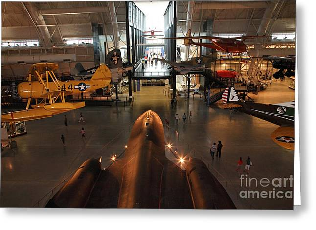 Sr71 Blackbird At The Udvar Hazy Air And Space Museum Greeting Card