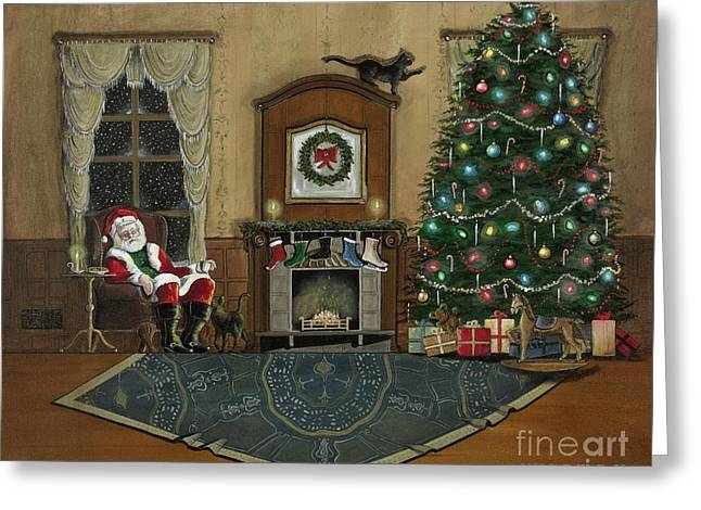 St. Nicholas Sitting In A Chair On Christmas Eve Greeting Card by John Lyes