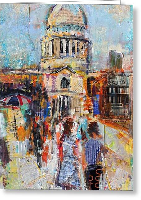St Paul's From The Millennium Bridge Greeting Card by Sylvia Paul