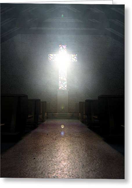 Stained Glass Window Crucifix Church Greeting Card by Allan Swart