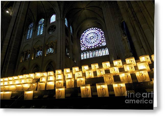 Stained Glass Window Of Notre Dame De Paris. France Greeting Card by Bernard Jaubert